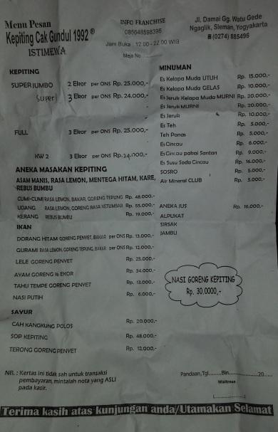 Daftar harga dan menu Kepiting Cak Gundul 1992