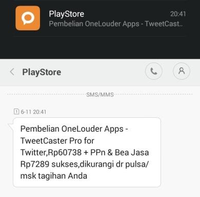 Pembelian aplikasi di Play Store dengan pulsa_