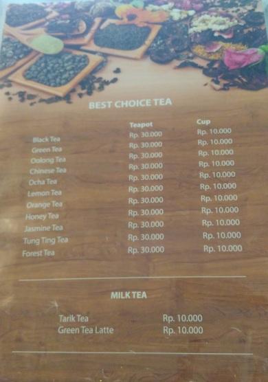 Pilihan teh di Rumah Teh Ndoro Donker