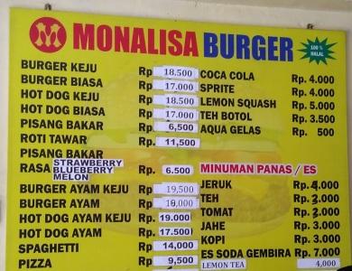 daftar menu dan harga Burger Monalisa