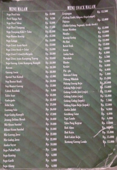 Daftar Menu dan Harga di Resto Pecel Solo
